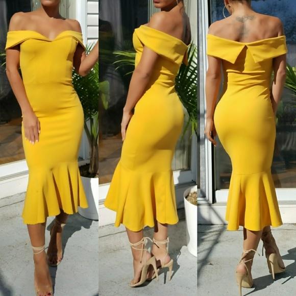 474e7473de73 Dresses | Flash Sale Yellow Ots Mermaid Midi Dress | Poshmark